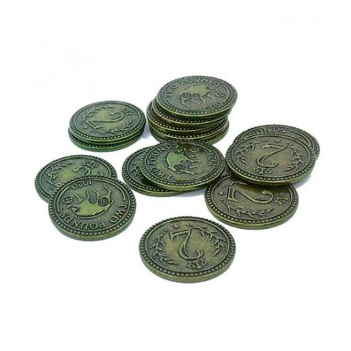 Monedas metálicas 2$ para Scythe - 15 monedas