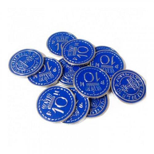 Monedas metálicas promo azules 10$ para Scythe - 15 monedas