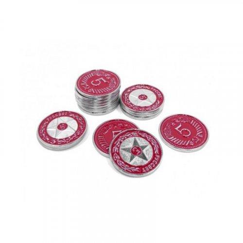 Monedas metálicas promo rojas 5$ para Scythe - 15 monedas