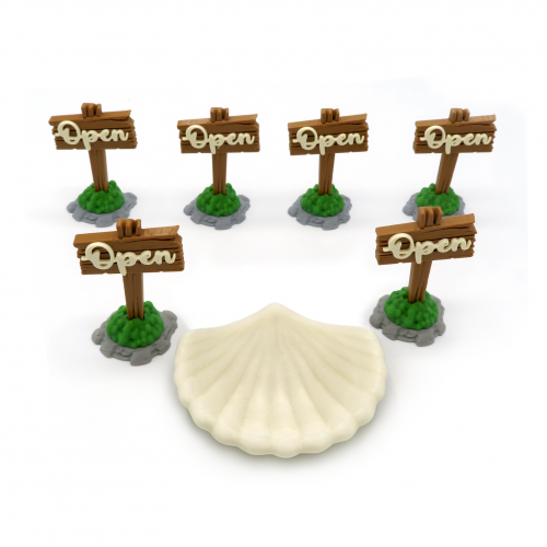 Open Signs & Shell for Pearlbrook Expansion - Everdell - 7 Pieces