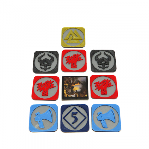 Multicolor Pillage tokens for Blood Rage - 9 pieces