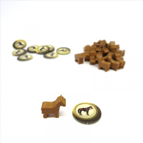 Horse meeple tokens for Carson City - 25 pieces